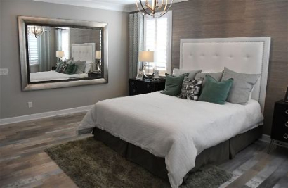 dark grey toned bedroom interior painting in tallahassee florida